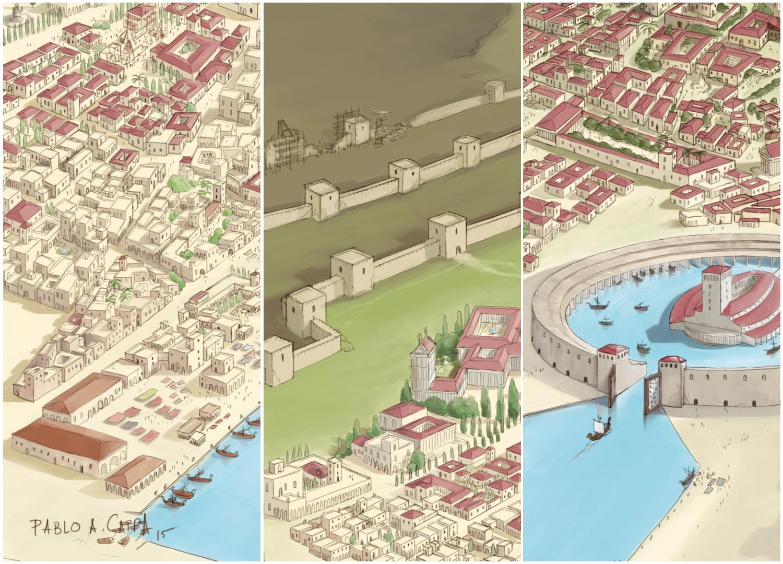 mapa cartago ilustracion editorial