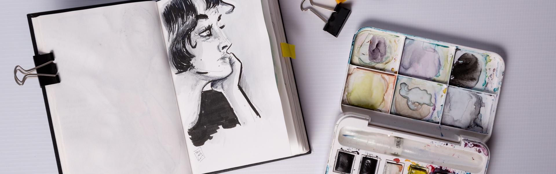 Dibujo, acuarelas y Cuaderno sketch · Ilustraciones cotidianas